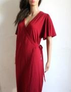 Bordowa kopertowa wiązana sukienka r L...