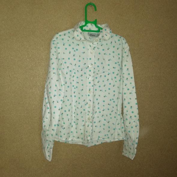 Biała dziewczęca koszula z wzorem 128 cm