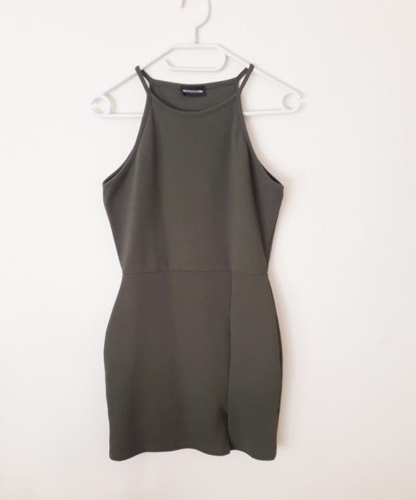Oliwkowa sukienka z rozporkiem...