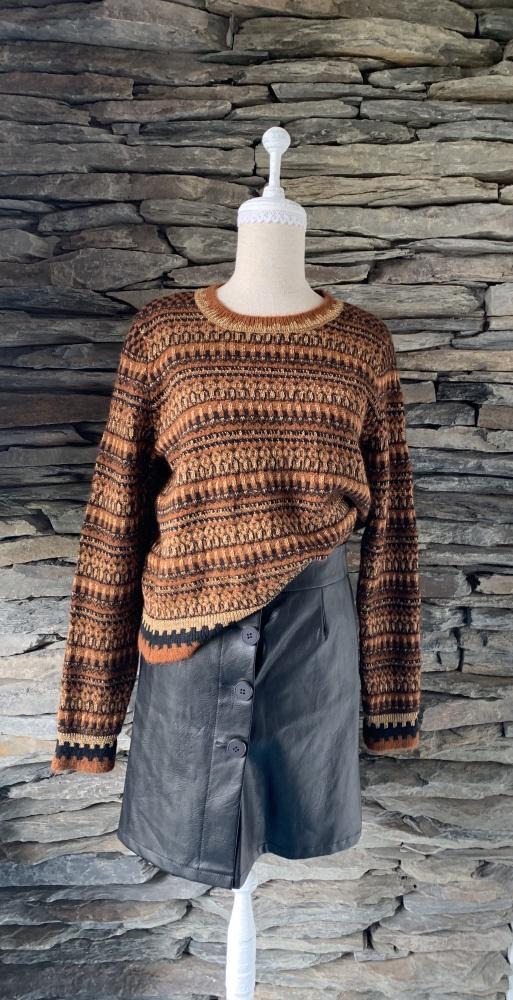 Swetry SWETER ZARA KOLORY ZIEMI ZE ZŁOTĄ NITKĄ