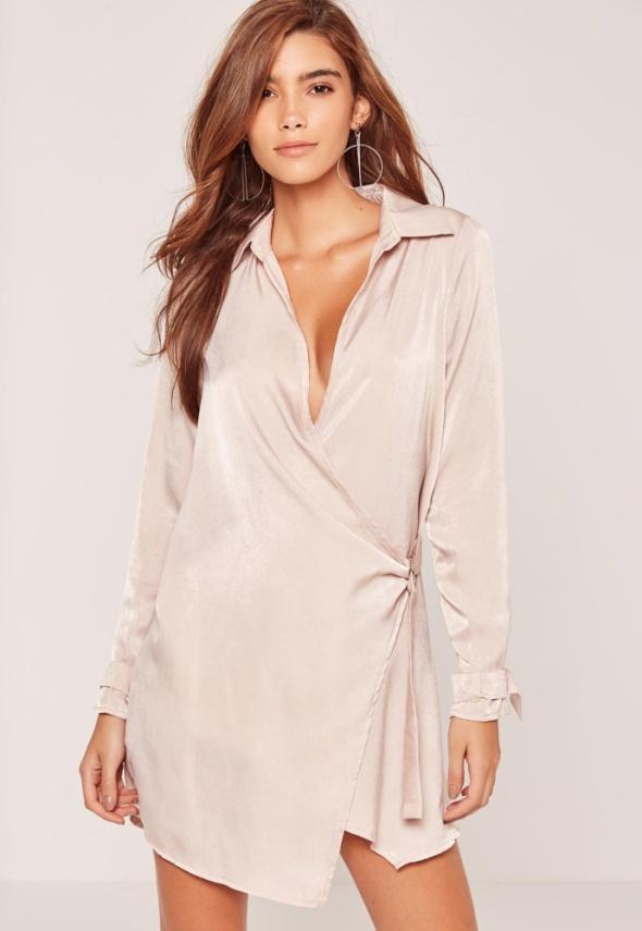 satynowa sukienka 34