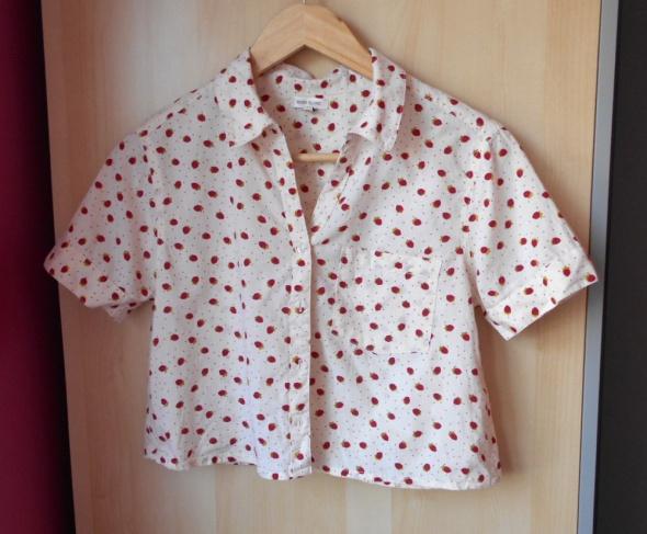 River Island crop top print koszula poziomki truskawki owoce pi...