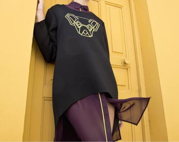 Komplet Koszula bordo fioletowa i Bluza pies geometryczny Blue Shadow XS S