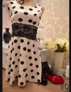 Piękna elegancka sukienka w groszki Wojas Kazar Ryłko Chanel Ko...