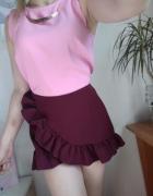 Mini spódniczka spódnica z falbankami bordowa wysoki stan spode...