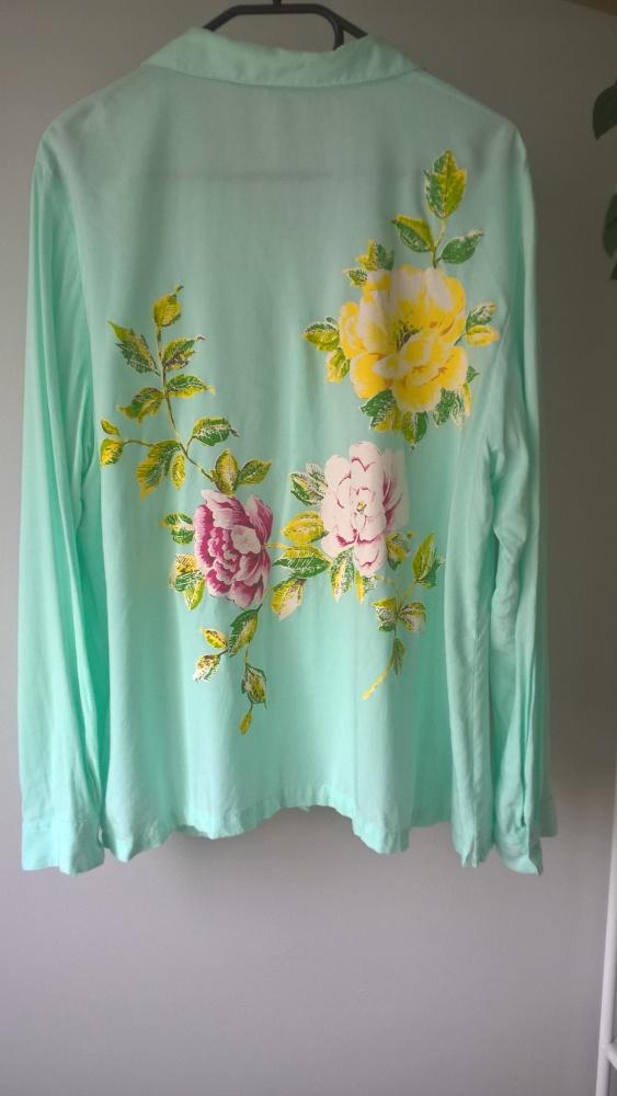 Miętowa koszulowa bluzka kwiaty 46 48 Bon Prix...