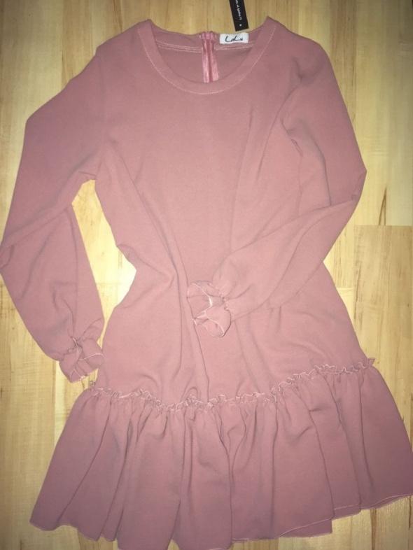 pudrowa pastelowa sukienka rękaw falbana LALU s 36