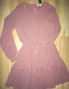 pudrowa pastelowa sukienka rękaw falbana LALU s 36...