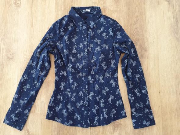 Granatowa koszula w kokardki