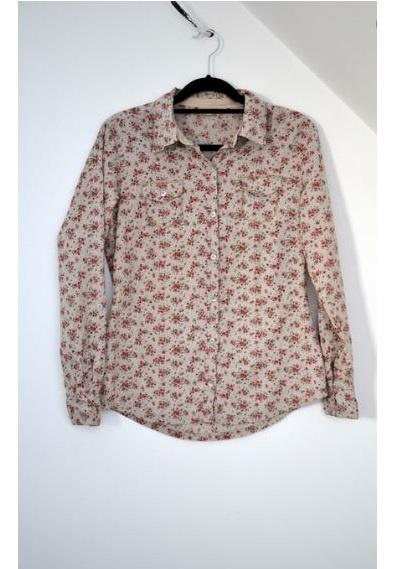 Beżowa koszula w kwiatki floral 40 L TU...