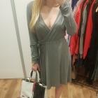 H&M sukienka przekładany dekolt szary melanż L