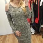 New look sukienka midi odkryte ramiona szara L