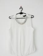 Dorothy Perkins biała elegancka bluzka mgiełka bez rękawów...