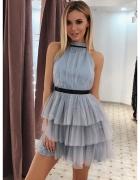 Szara sukienka z falbankami...
