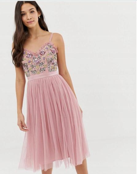 4ee20530 Tiulowa sukienka Asos Maya na wesele tiul cekiny rozmiar S w Suknie ...