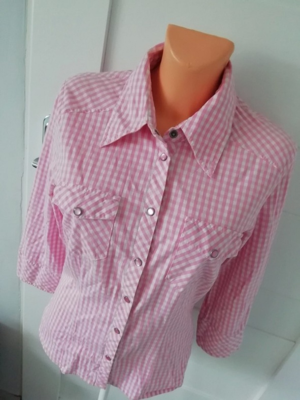 koszula vero moda biało różowa kratka S M...