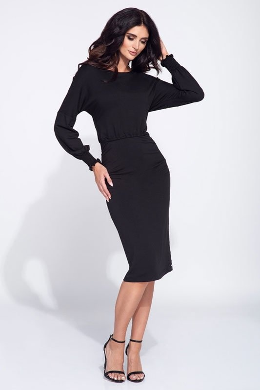 Sukienka czarna marszczona midi...