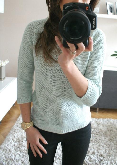Sweter miętowy Zara łezka rękaw 3 4 Zara knit S