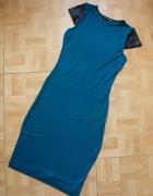 Sukienka Skórzane wstawki 34 36 XS S Turkus...