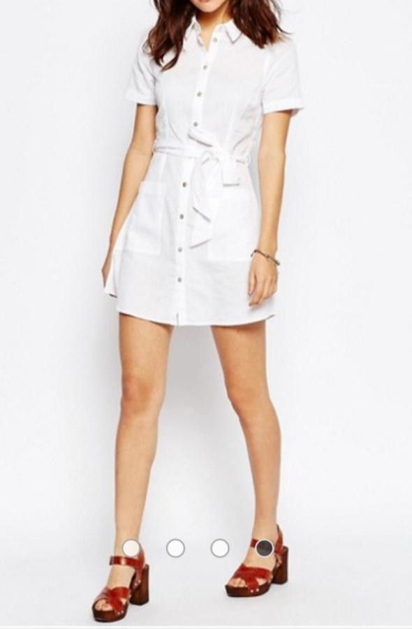 ASOS biała lniana sukienka len klasyk nowa r 40...