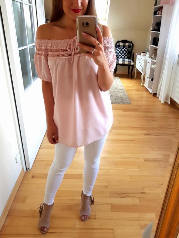 Bluzki Różowa bluzka hiszpanka koronka L 40