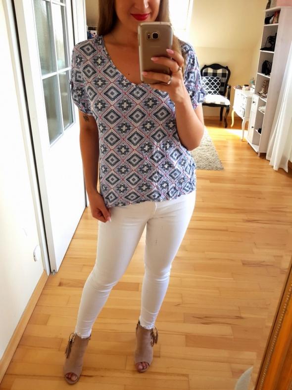 Bluzki Niebieska bluzka boho wzory XL 42