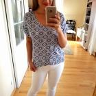 Niebieska bluzka boho wzory XL 42
