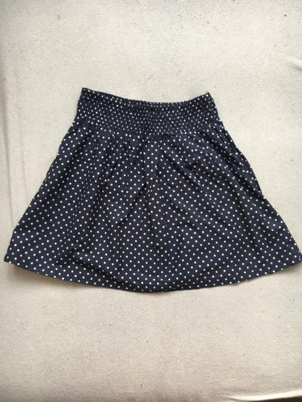 Granatowa spódnica w grochy