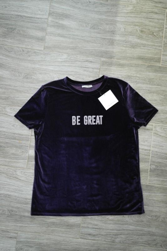 ZARA welurowa fioletowa koszulka z napisem 40 L