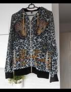 Just Cavalli panterkowa bluza z kapturem leopard print cekiny...