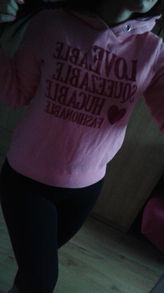 Bluza różowa z kapturem xs