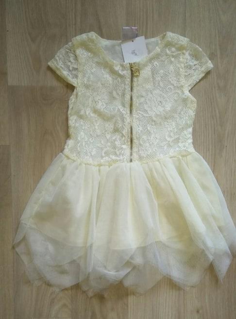 Nowa wyjściowa kremowa elegancka sukienka tiulowa tiul koronka 98 104