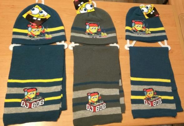 Nowy zimowy komplet chłopięcy czapka i szalik spongebob 54