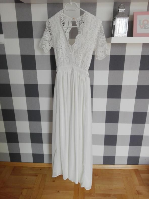 suknia ślubna ślub cywilny suknia maxi dress biała sesja XS S club l