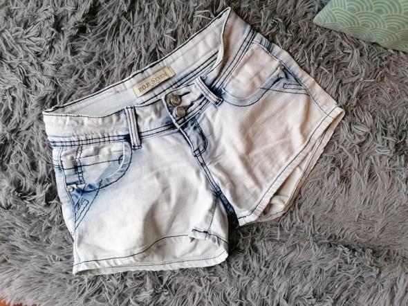 Marmurkowe spodenki krótkie jeans szorty S przetarcia...