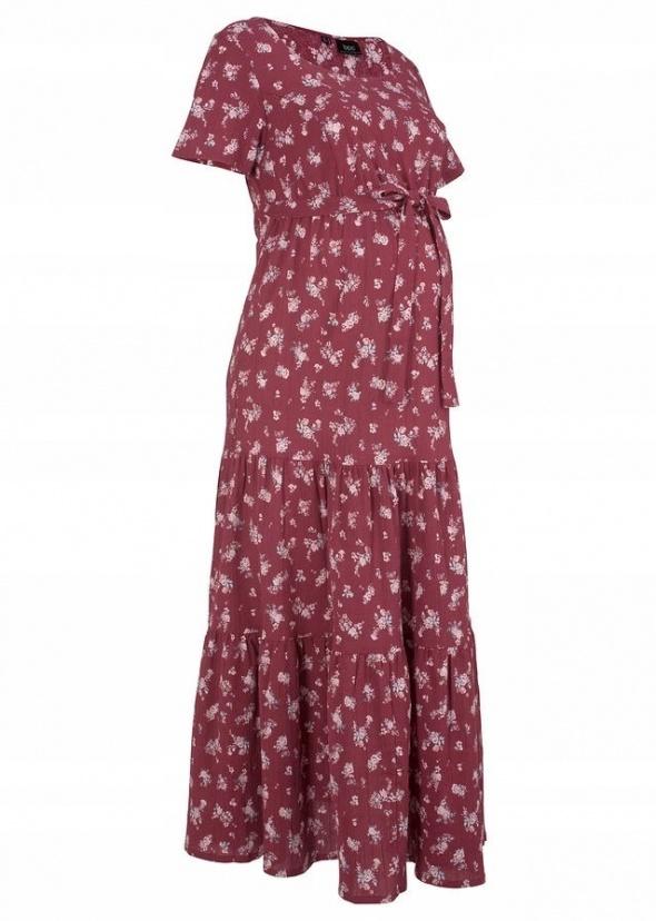 Długa ciążowa sukienka w kwiaty bawełna 44 i 46...