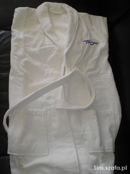 Nowy biały gruby szlafrok frotte z 2 ręcznikami