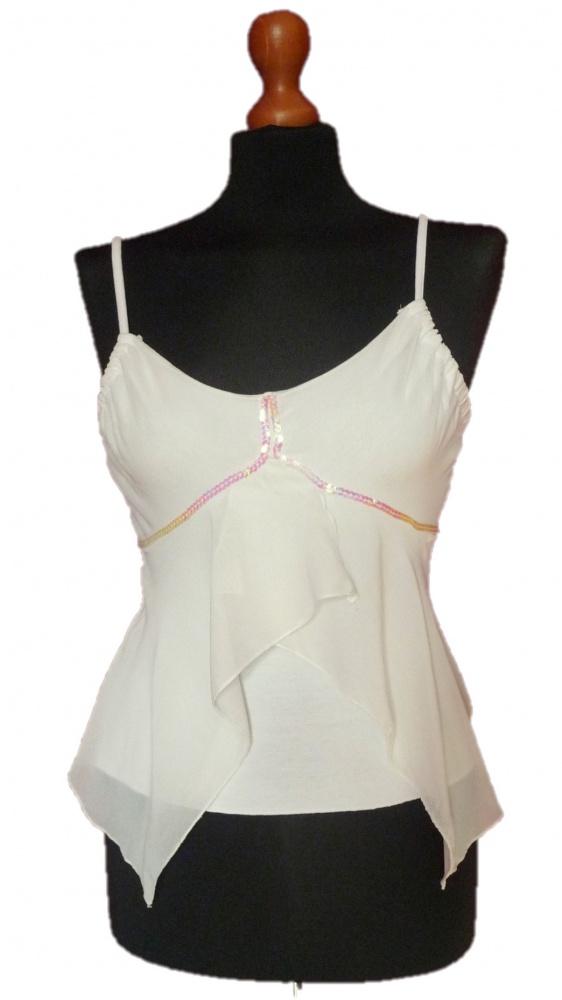 Biała lekka sexy romantyczna bluzka top na ramiączkach z Francji M wysyłka w cenie