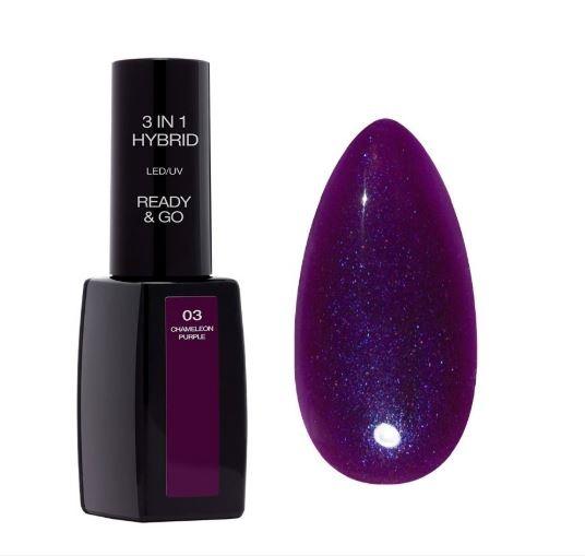 Nowy Lakier Hybrydowy READY&GO 3w1 Pierre Rene nr 03 Chameleon purple