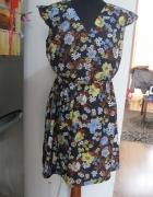 sukienka NEW LOOK 38 granatowa w kwiatki rozkloszowana...