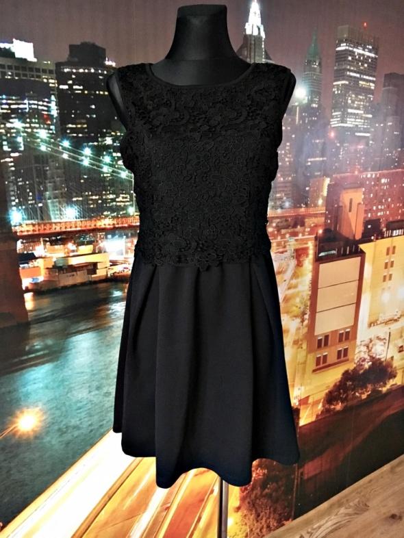 Suknie i sukienki south sukienka karbowana koronka gipiura czarna hit 38 M