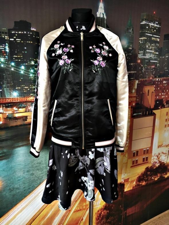 f&f kurtka bomberka modny wzór kwiaty haft jak nowa 34