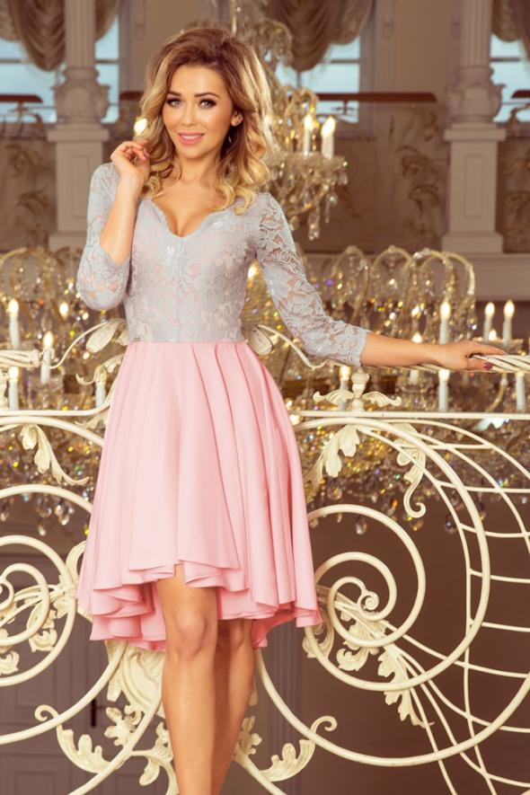 NICOLLE sukienka SZARY róż koronka
