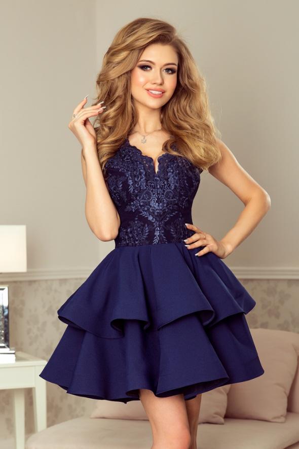 CHARLOTTE sukienka z koronkowym dekoltem granatowa
