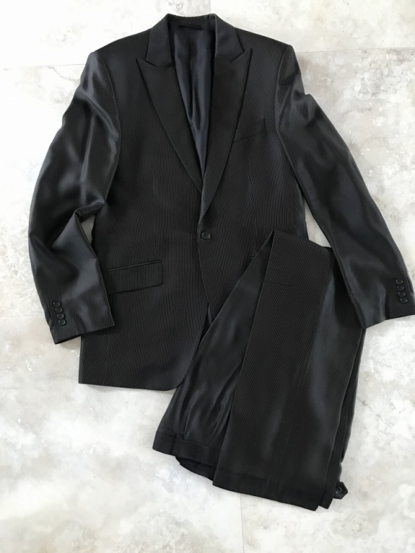 Komplet marynarka spodnie ciemny brąz welna wiskoz