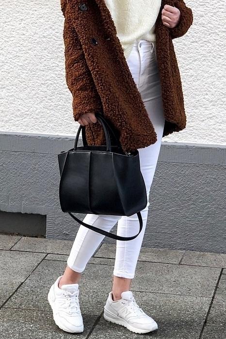 Nowa stylowa czarna torba shopper usztywniana