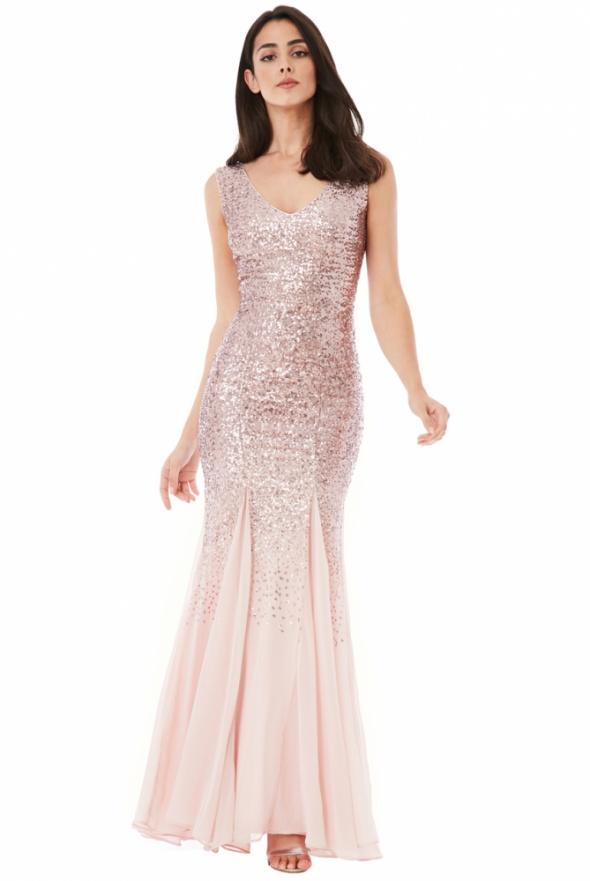 6520b1b4814863 Długa cekinowa sukienka na sylwestra w kolorze różowego złota z szyfonową  spódnicą
