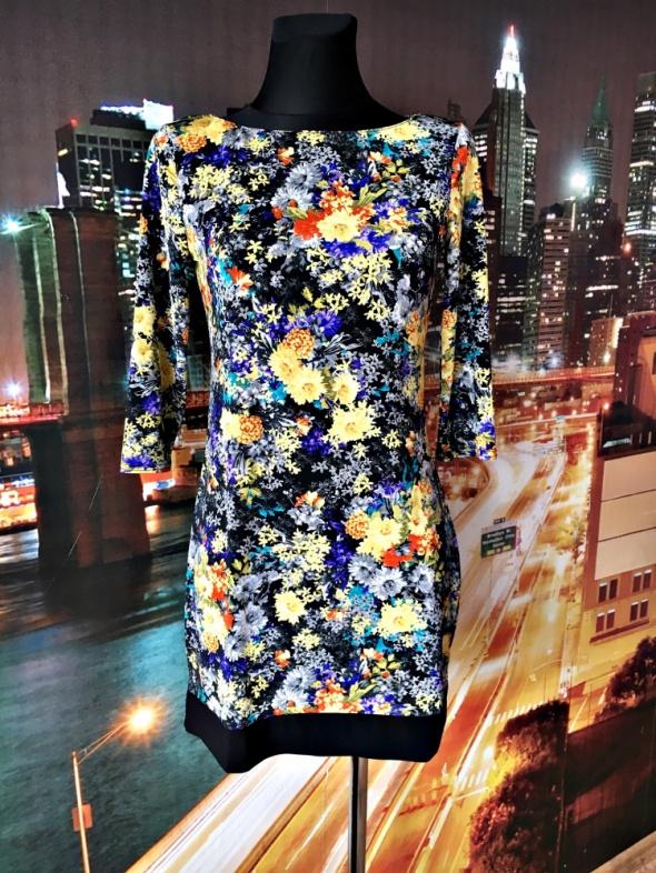 atmosphere sukienka mini kolorowa kwiaty floral hit 36 S...
