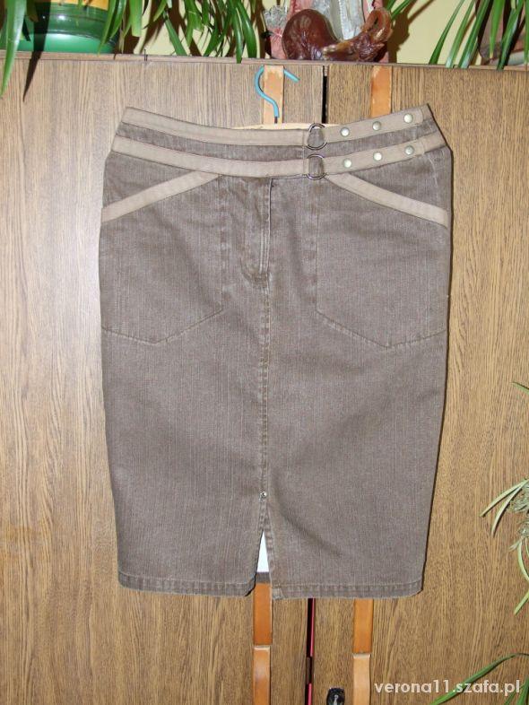Brązowa jeansowa spódnica midi Promod S...