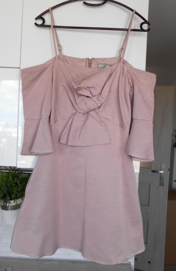 Suknie i sukienki Asos nowa sukienka kokarda rozkloszowana pudrowy róż odsłonięte ramiona